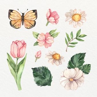 Coleção de flores isoladas em aquarela de primavera