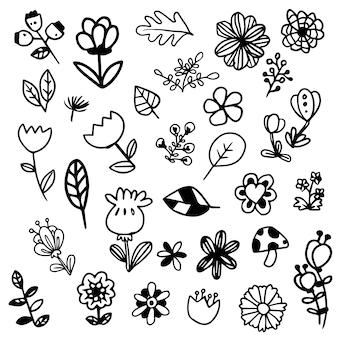Coleção de flores preto e branco
