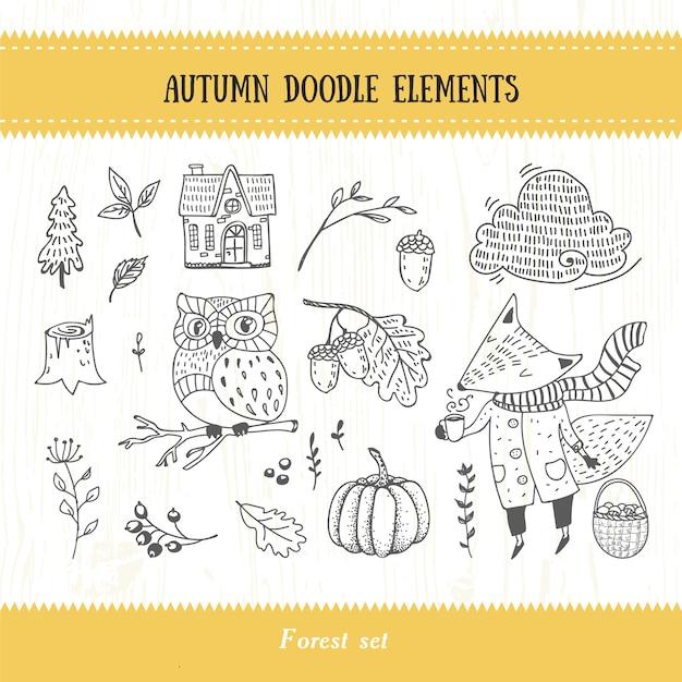 Coleção de floresta de outono doodle