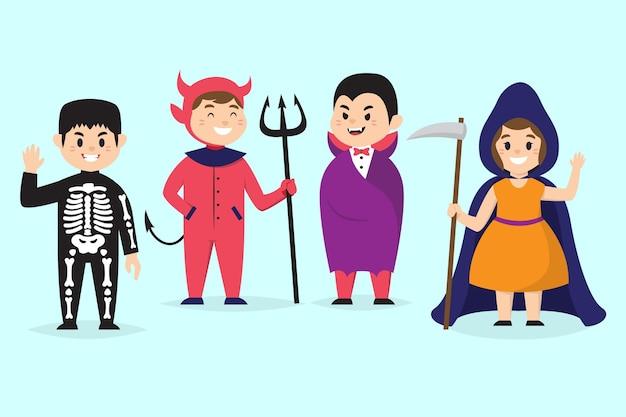 Coleção de fofos desenhos animados para crianças de carnaval