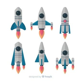 Coleção de foguete espacial moderna com design plano