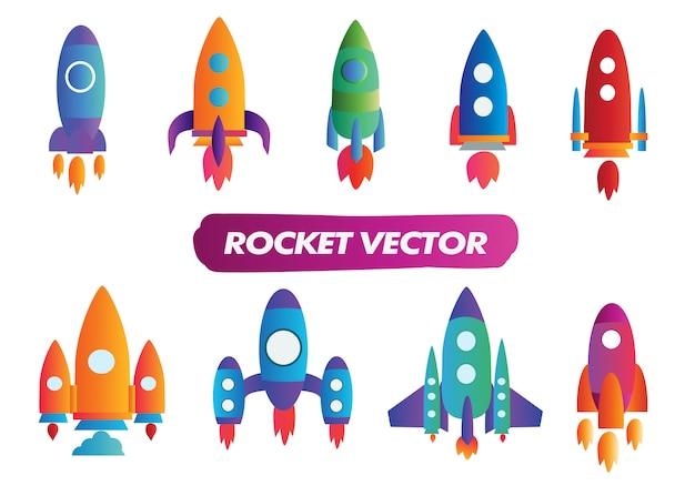 Coleção de foguetes modernos gradiente