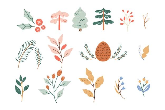 Coleção de folhagem de inverno, flores coloridas em tons pastéis fofos e folhas.