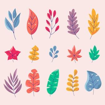 Coleção de folhas coloridas de design plano