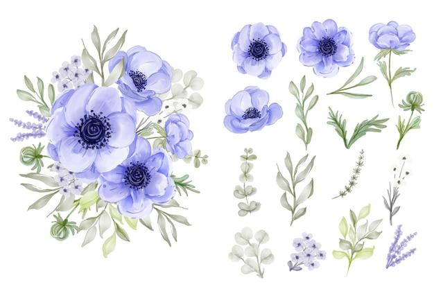 Coleção de folhas de flores de anêmona roxa elegante