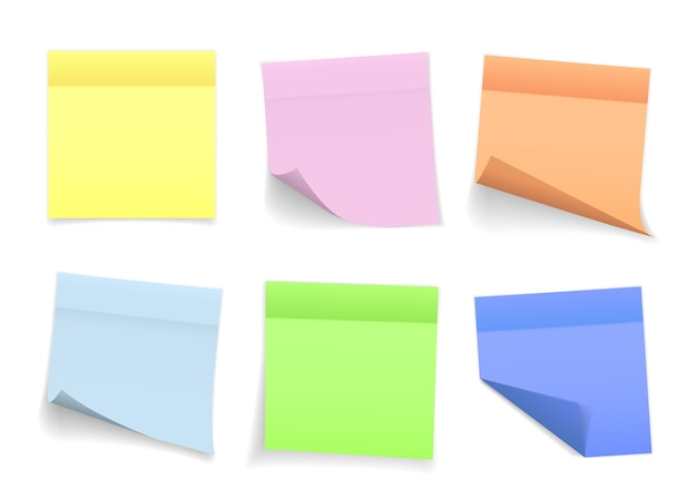 Coleção de folhas de notas de diferentes cores com canto ondulado e sombra, pronta para sua mensagem.