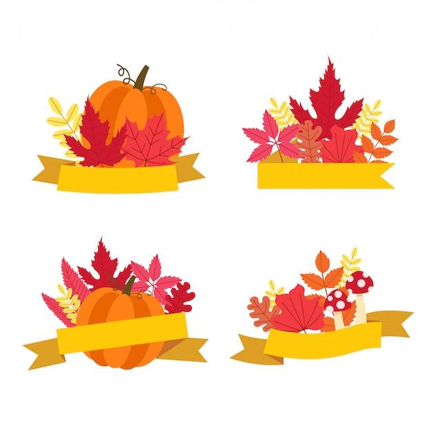 Coleção de folhas de outono, abóbora com modelo de fita.