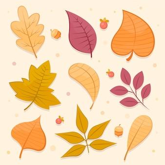 Coleção de folhas de outono de design plano