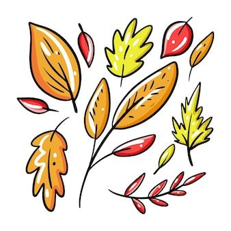 Coleção de folhas de outono desenhada à mão.