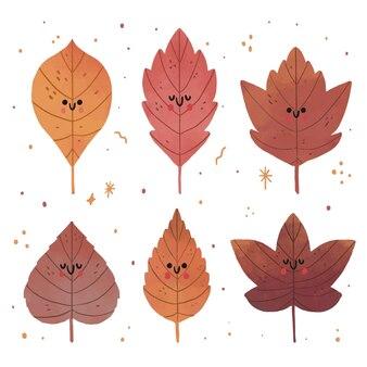 Coleção de folhas de outono desenhada à mão