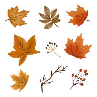 Coleção de folhas de outono desenho vetorial de outono