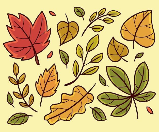 Coleção de folhas de outono mão desenhada