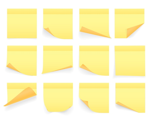 Coleção de folhas de papel de anotações de cor amarela com canto ondulado e sombra, pronto para sua mensagem. realista. isolado no fundo branco. conjunto.