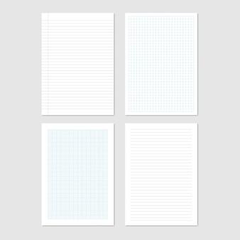 Coleção de folhas de papel de formato a4, ilustração vetorial