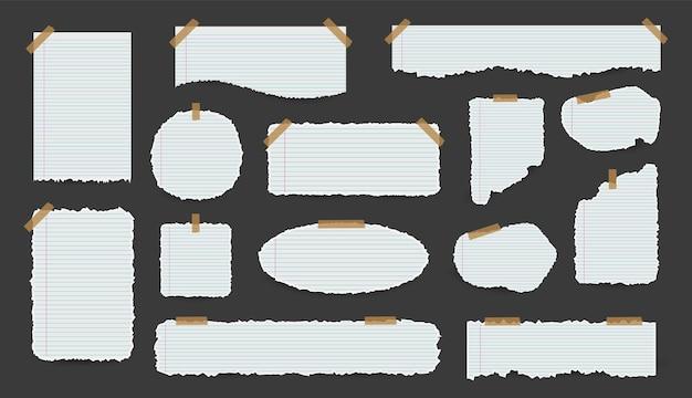 Coleção de folhas de papel rasgado branco