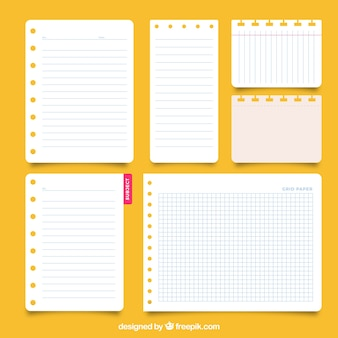 Coleção de folhas do bloco de notas