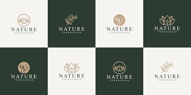 Coleção de folhas e flores de logotipos da natureza