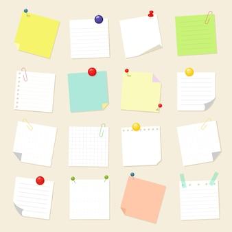 Coleção de folhas quadradas de papel lembrete