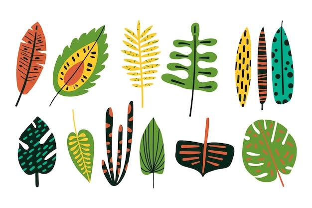Coleção de folhas tropicais coloridas desenhada à mão