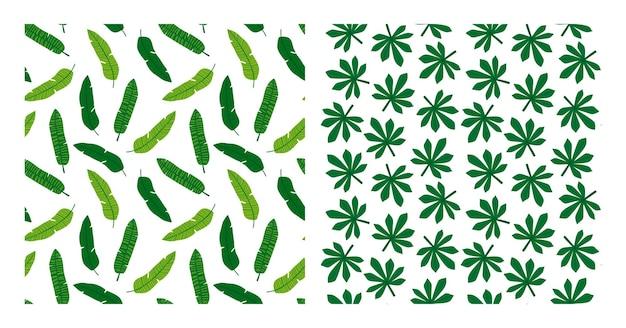 Coleção de folhas tropicais. conjunto de palmeira tropical deixa padrões sem emenda. pacote tropical exótico de fundos com folhagem de palmeira. ilustração vetorial para impressão, têxtil, embalagens.