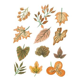 Coleção de folhas tropicais em aquarela artesanal
