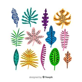 Coleção de folhas tropicais mão desenhada