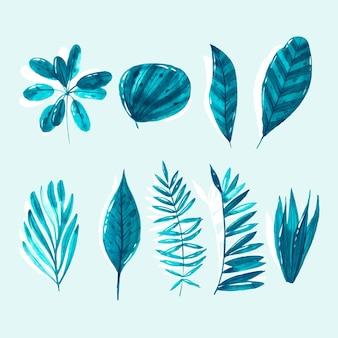 Coleção de folhas tropicais monocromáticas
