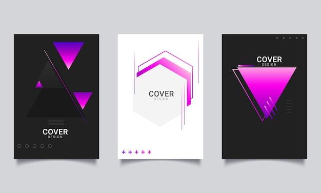 Coleção de folheto de pôster ou modelo de design de layout de capa de relatório anual