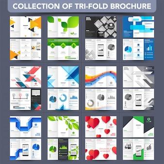 Coleção de folheto tri-fold, design do folheto.