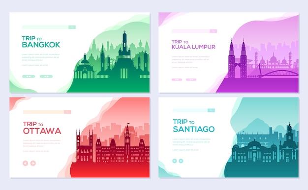 Coleção de folhetos de diferentes cidades