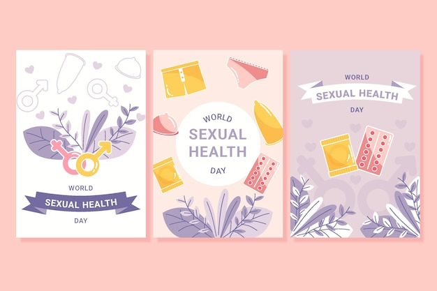 Coleção de folhetos do dia mundial da saúde sexual