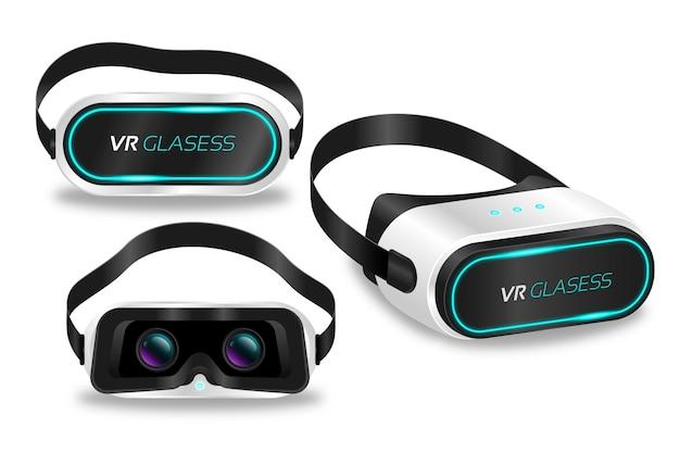 Coleção de fone de ouvido de realidade virtual realista