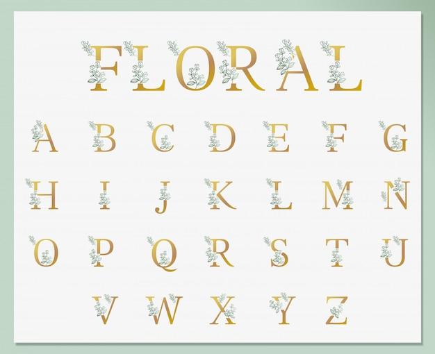 Coleção de fonte botânica de arte floral simples linha