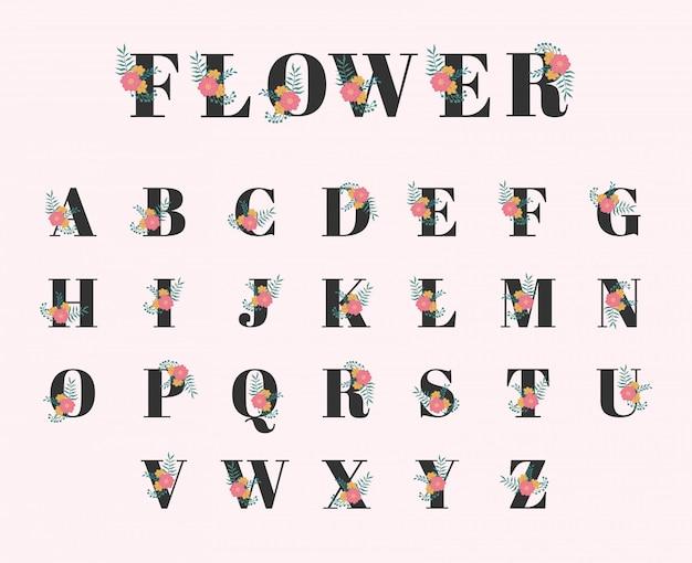 Coleção de fontes botânicas de flores simples