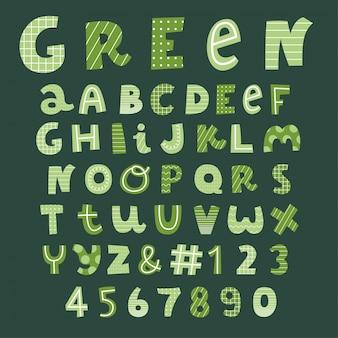 Coleção de fontes de vetor decorativo verde