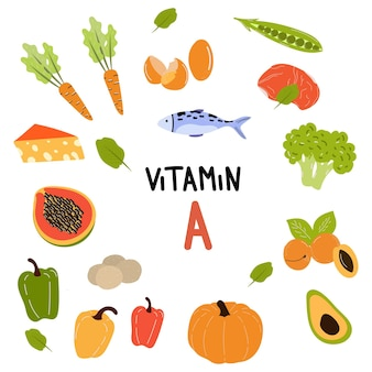 Coleção de fontes de vitamina a. alimentos saudáveis contendo caroteno. verduras, legumes, frutas, peixes. produtos dietéticos orgânicos, alimentos naturais. ilustração de desenho vetorial plana