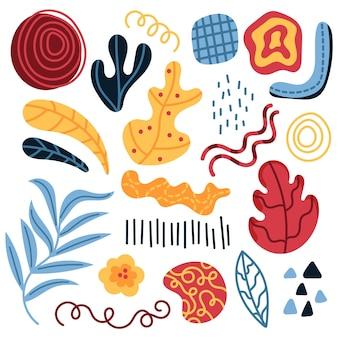 Coleção de formas abstratas desenhadas à mão