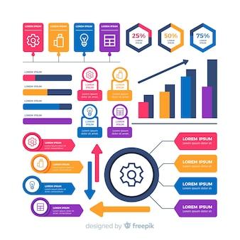 Coleção de formas coloridas para infográfico de negócios