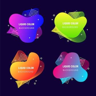 Coleção de formas de gradiente vibrante fluido banner abstrata