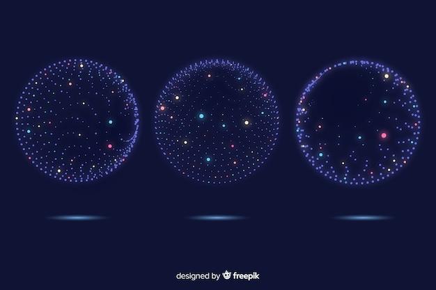 Coleção de formas geométricas 3d de partículas coloridas