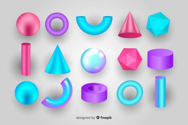 Coleção de formas geométricas tridimensionais