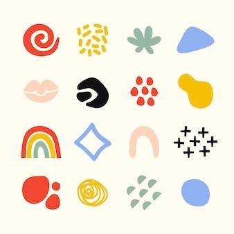 Coleção de formas planas abstratas desenhadas à mão
