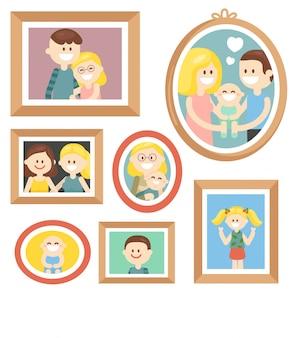 Coleção de fotos de família dos desenhos animados no quadro