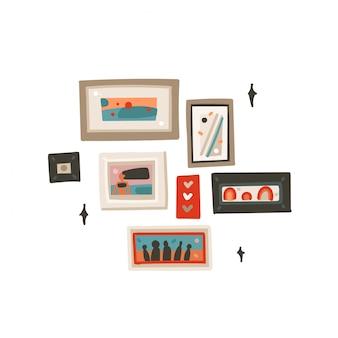 Coleção de fotos de quadros gráficos modernos de desenhos animados desenhados à mão conjunto arte ilustrações isolada