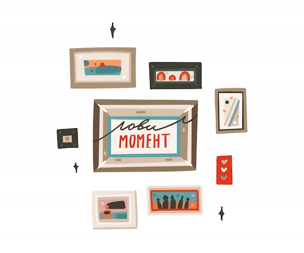 Coleção de fotos de quadros modernos de mão desenhada dos desenhos animados abstratos conjunto arte ilustrações sobre fundo branco
