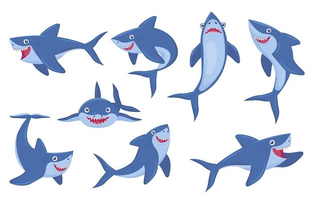 Coleção de fotos planas de tubarão sorridente fofo