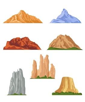 Coleção de fotos planas de várias montanhas. desenhos animados de colinas rochosas, rochas e ilustrações isoladas de topos de montanhas. elementos de design de paisagem e conceito de terreno