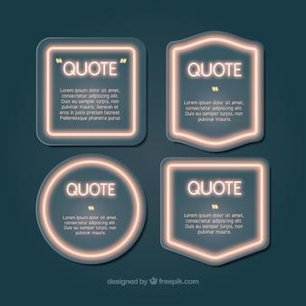 Coleção de frames brilhantes para escrever citações