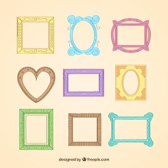 Coleção de frames coloridos diferentes elegantes