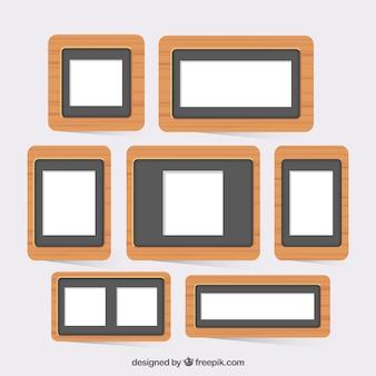 Coleção de frames de madeira
